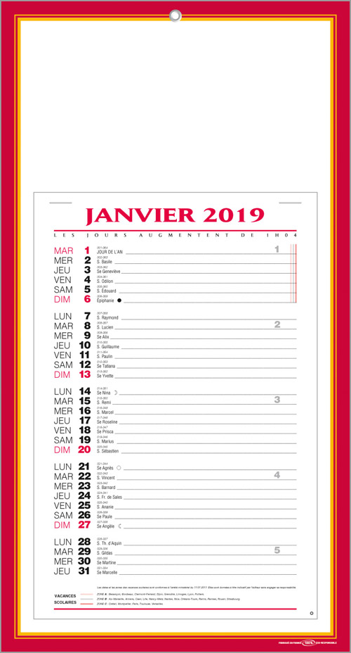 Calendrier XD1
