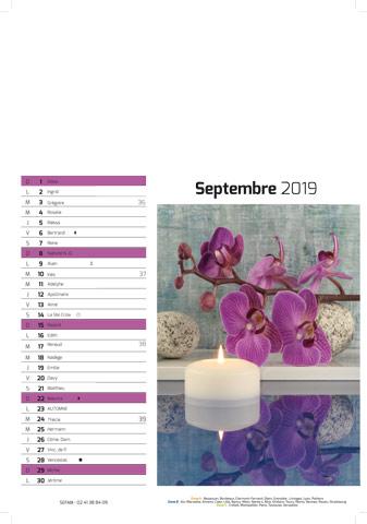 Calendrier feuillet septembre sefam